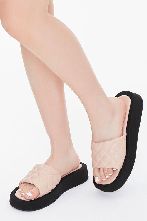 Quilted Slip-On Flatform Sandals, image 1