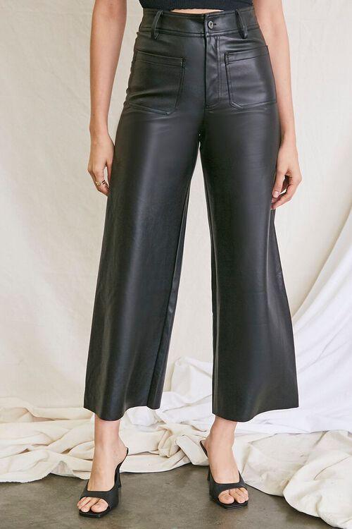 BLACK Faux Leather Wide-Leg Pants, image 2