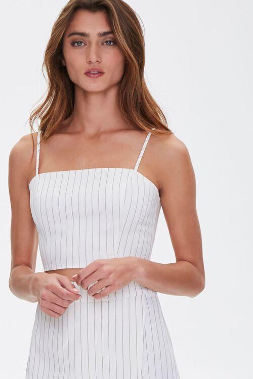 WHITE/BLACK Pinstriped Cropped Cami, image 1