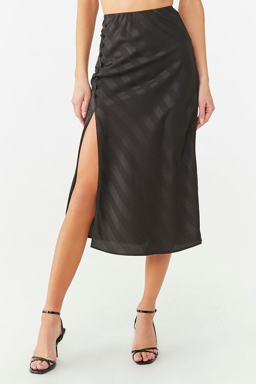 Striped Satin Midi Skirt, image 2