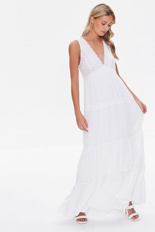 Plunging Lace-Trim Maxi Dress, image 1