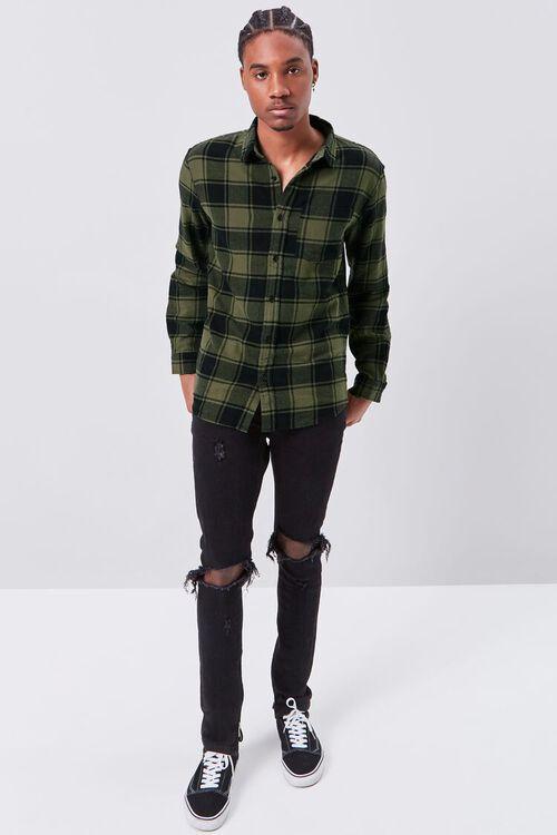 OLIVE/BLACK Classic Fit Flannel Plaid Shirt, image 4