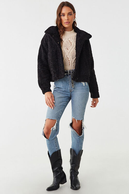 Faux Shearling Snap-Button Jacket, image 4