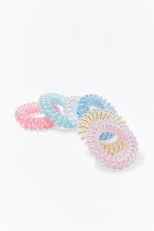 PINK/MULTI Glittered Spiral Hair Tie Set, image 3