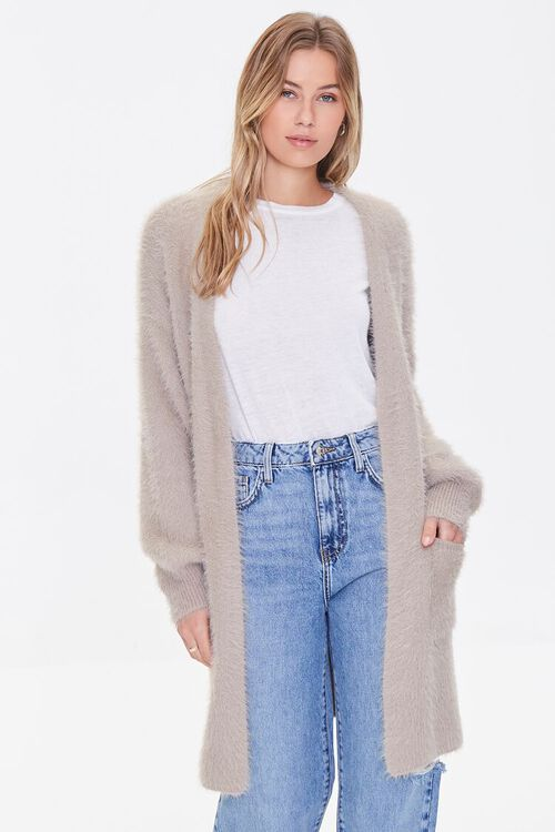TAUPE Fuzzy Knit Cardigan Sweater, image 1