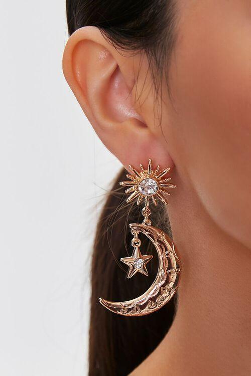 Moon & Stars Drop Earrings, image 1