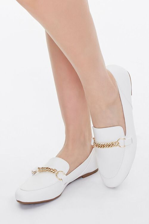 Faux Leather Chain-Strap Loafers, image 1