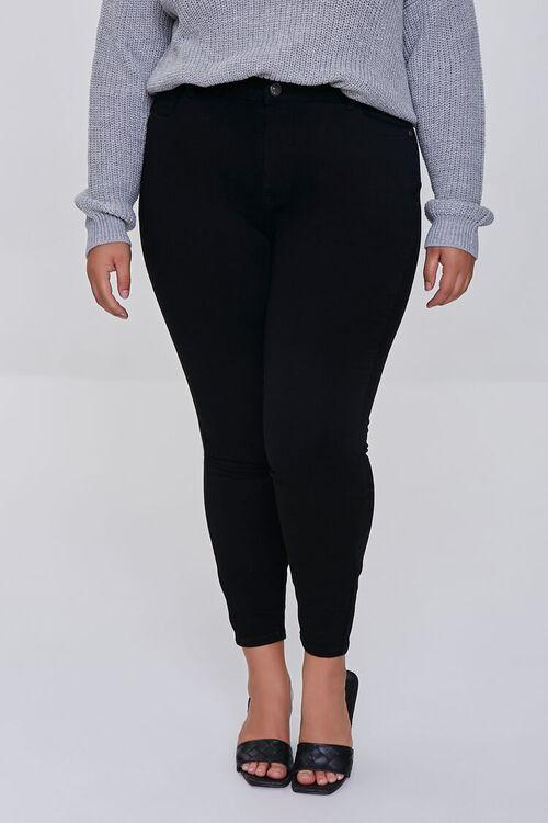 BLACK Plus Size Basic Skinny Jeans, image 2