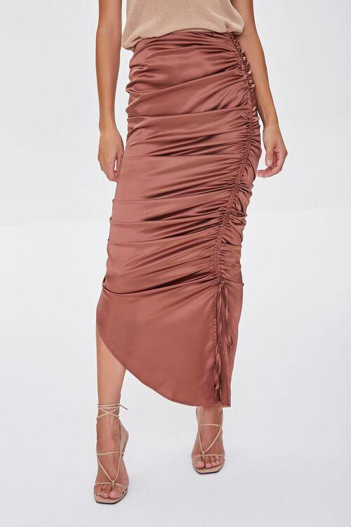 Satin Ruched Drawstring Skirt, image 2