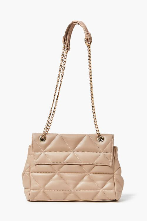 TAUPE Quilted Faux Leather Crossbody Bag, image 4