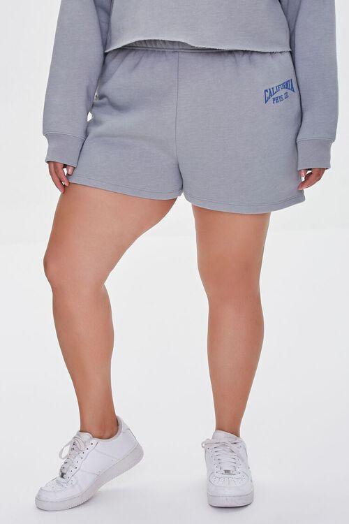 HEATHER GREY/BLUE Plus Size Fleece California Shorts, image 2