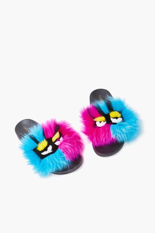 Faux Fur Face Graphic Slide Sandals, image 1