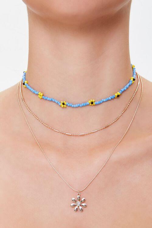 BLUE/GOLD Floral Pendant Necklace Set, image 1