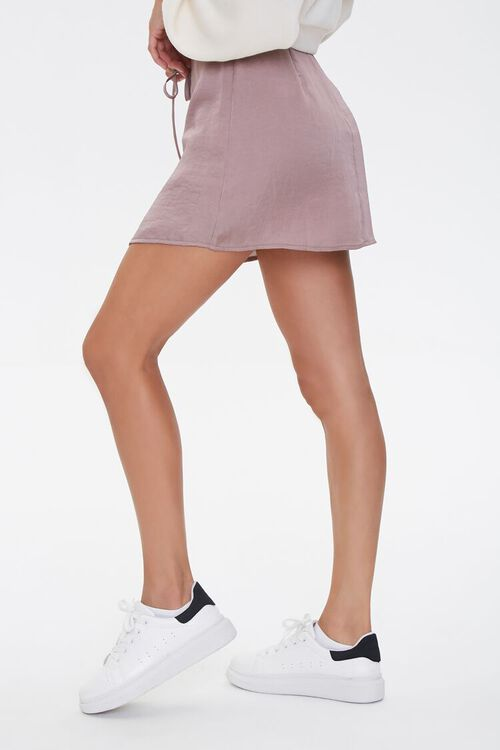 Lace-Up Satin Mini Skirt, image 3