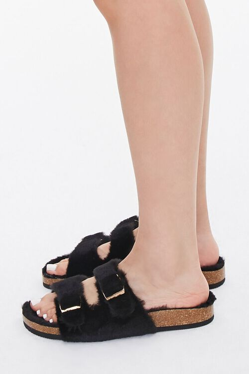 Buckled Faux Fur Sandals, image 2