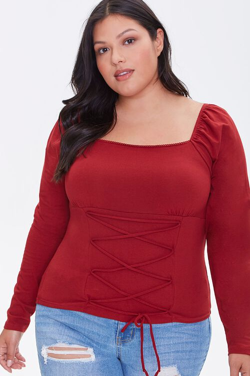 Plus Size Lace-Up Top, image 1