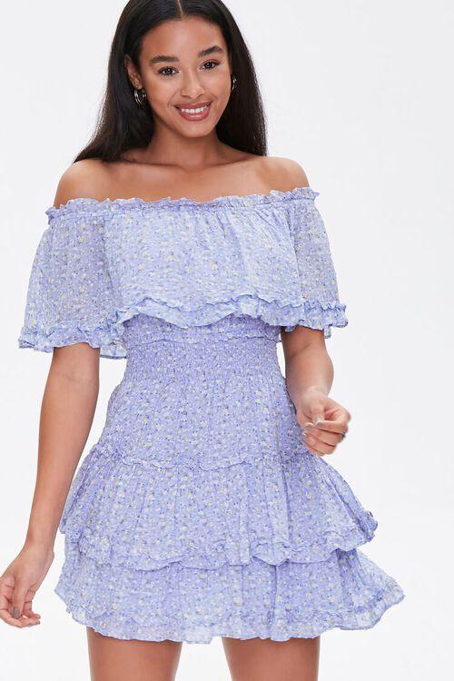Off-the-Shoulder Floral Print Dress, image 2