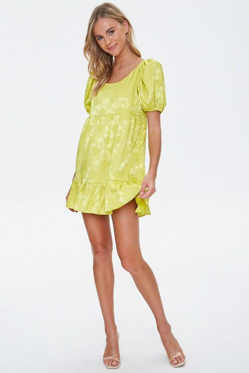 Satin Rose Print Shift Dress, image 4