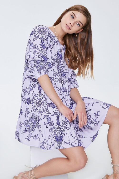 Ornate Floral Print Swing Dress, image 5