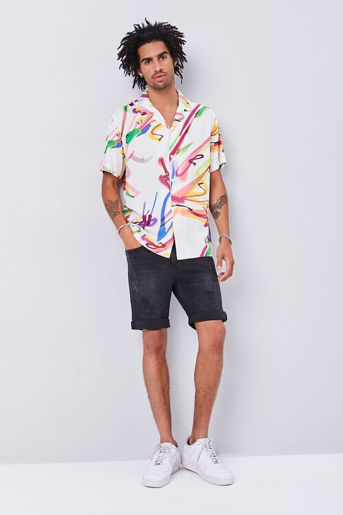 CREAM/MULTI Classic Fit Abstract Print Shirt, image 4