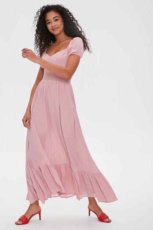 Puff-Sleeve Sweetheart Maxi Dress, image 1