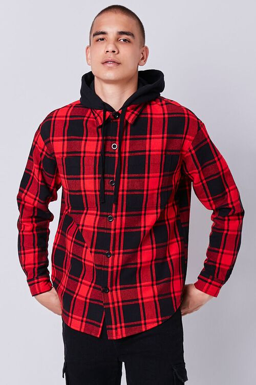 Plaid Buttoned Flannel Hoodie, image 5