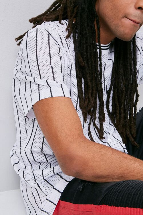 Vertical Striped Print Jersey Mesh Tee, image 5