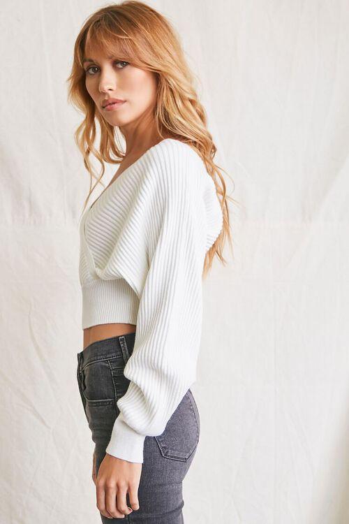 CREAM Ribbed Surplice Sweater, image 2