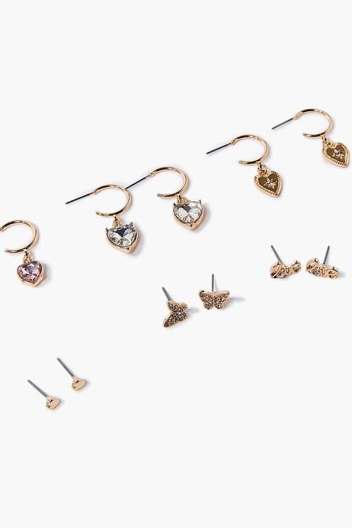 Heart Charm Hoop & Stud Earring Set, image 2