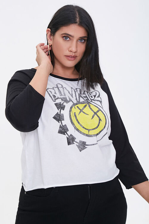 WHITE/BURGUNDY Plus Size Blink 182 Graphic Tee, image 1
