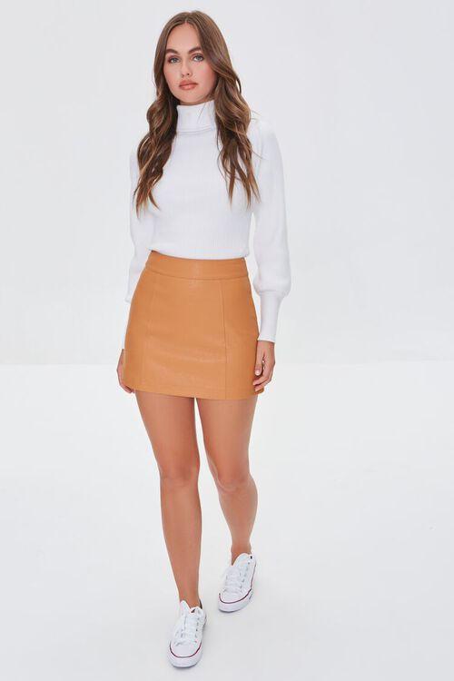CAMEL Faux Leather Mini Skirt, image 5