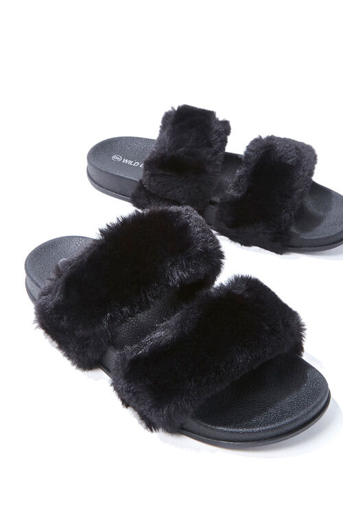 Faux Fur Dual-Strap Slippers, image 3