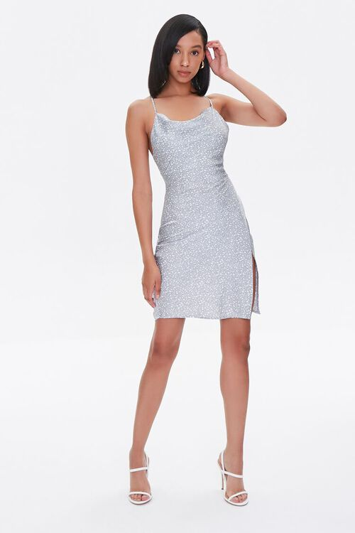 LIGHT BLUE/WHITE Satin Spotted Print Dress, image 5