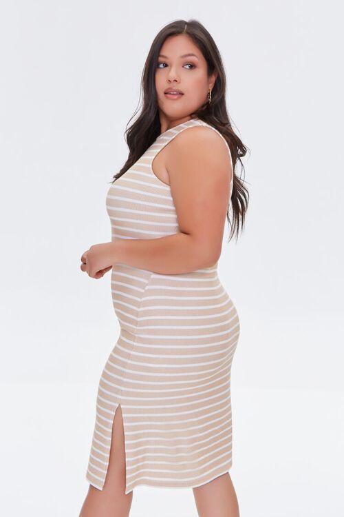 TAUPE/CREAM Plus Size Striped Tank Dress, image 2