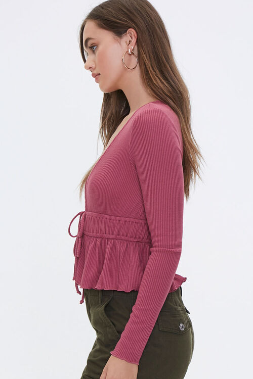 Ribbed Tie-Front Top, image 2