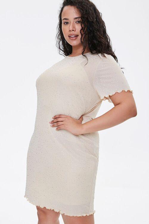 Plus Size Metallic Pin Dot T-Shirt Dress, image 2