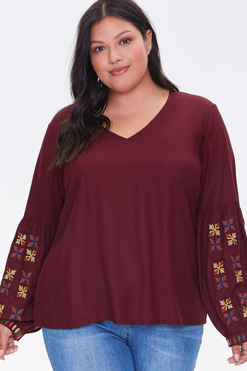Plus Size Embroidered Peasant Top, image 1