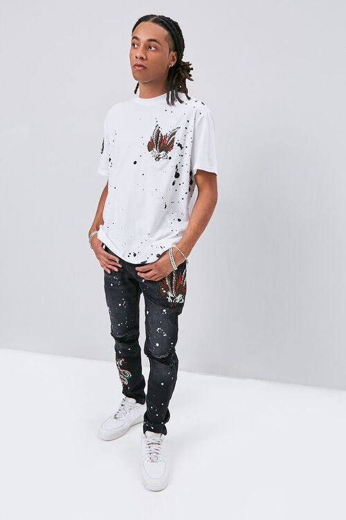 Embroidered Graphic Paint Splatter Jeans, image 5