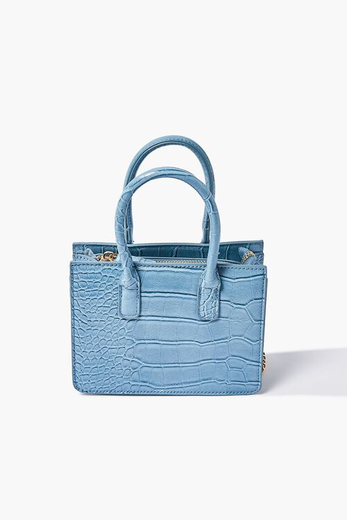 BLUE Faux Leather Top Handle Crossbody Bag, image 4
