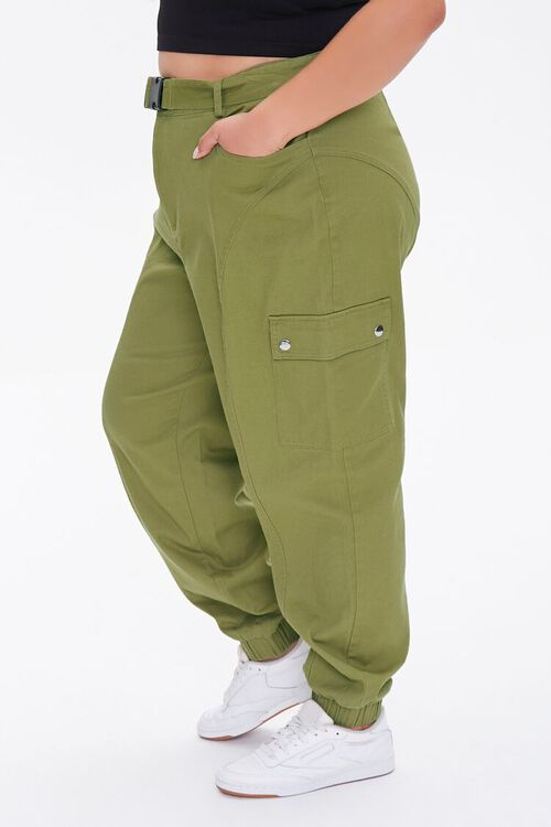 OLIVE Plus Size Belted Cargo Joggers, image 3