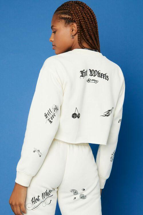 CREAM/BLACK Hot Wheels Fleece Pullover, image 3
