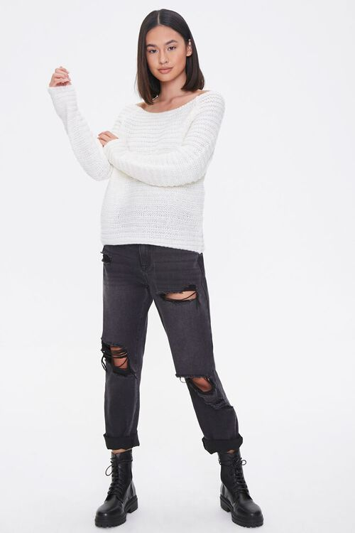 Open-Knit Boat Neck Sweater, image 4