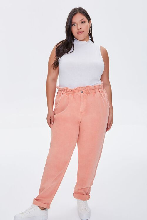 Plus Size High-Rise Paperbag Jeans, image 1