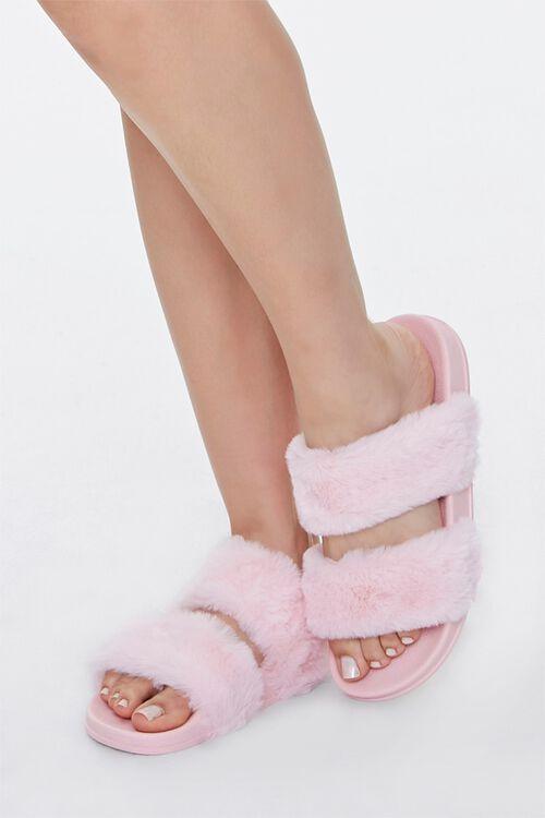 Faux Fur Dual-Vamp Slippers, image 1