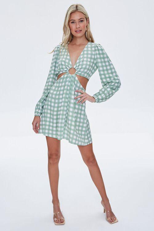 Gingham Cutout Mini Dress, image 4