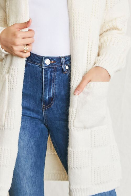 IVORY Checkered Purl Knit Cardigan Sweater, image 5