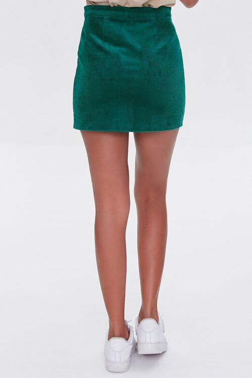 HUNTER GREEN Corduroy Zip-Front Mini Skirt, image 4