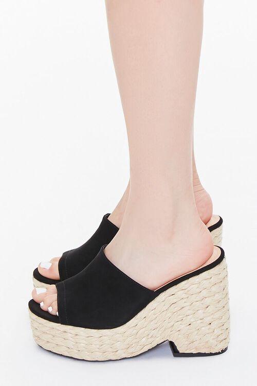 BLACK Faux Suede Espadrille Block Heels, image 2