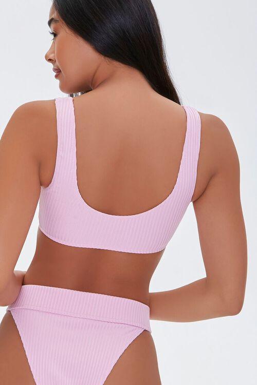 Ribbed Zip-Up Bralette Bikini Top, image 3