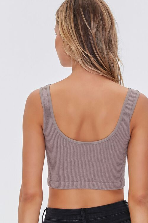 CAPPUCCINO Seamless Ribbed Knit Halter Top, image 3